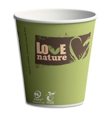 LOVE NATURE Sachet 100 Gobelets Sbio6 Love Nature assortis 15 cl en carton - H8 cm, Diamètre 7,03 cm
