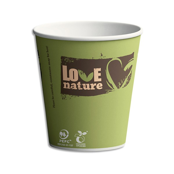 BIOWARE Sachet 100 Gobelets Sbio6 Love Nature assortis 15 cl en carton - H8 cm, Diamètre 7,03 cm (photo)