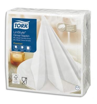 TORK Paquet de 50 Serviettes Linstyle Blanches non-tissées, aspect + toucher textile - Format 39 x 39 cm