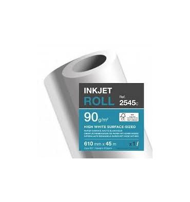 CLAIREFONTAINE Bobine papier blanc CIE164 Surfacé 90g pour traceur 0,610 mm x 45 m. Impression Jet d'encre