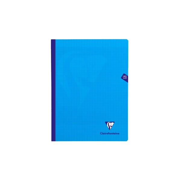 CLAIREFONTAINE Cahier MIMESYS brochure cousue 192 pages Seyès 24 x 32 cm. Couverture polypropylène bleue