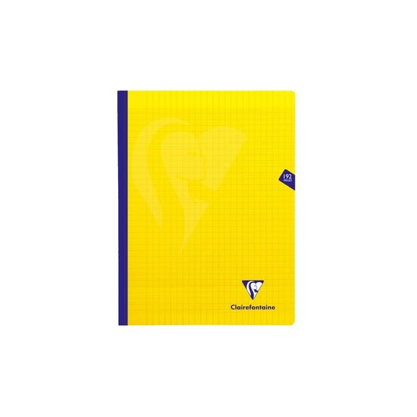 CLAIREFONTAINE Cahier MIMESYS brochure cousue 192 pages Seyès 24 x 32 cm. Couverture polypropylène jaune
