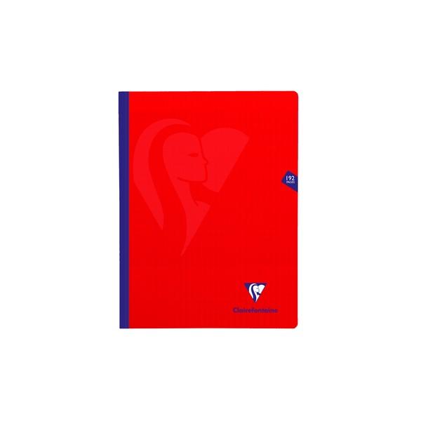 CLAIREFONTAINE Cahier MIMESYS brochure cousue 192 pages Seyès 24 x 32 cm. Couverture polypropylène rouge