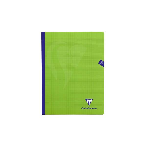 CLAIREFONTAINE Cahier MIMESYS brochure cousue 192 pages Seyès 24 x 32 cm. Couverture polypropylène verte