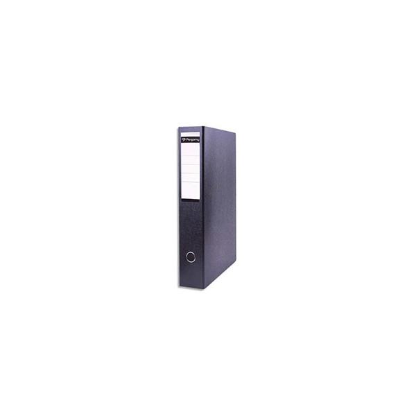 PERGAMY Classeur à levier en carton dos 8 cm. Format A3 portrait. Coloris noir
