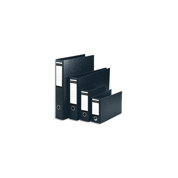 PERGAMY Classeur à levier en carton dos 8 cm. Format A5 portrait. Coloris noir