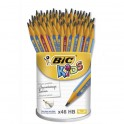 BIC Pot de 46 crayons Graph Ergo. Mine HB 4 mm, corps rose ou bleu