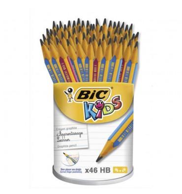 BIC Pot de 46 crayons Graph Ergo. Mine HB 4 mm, corps rose ou bleu