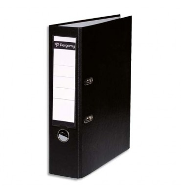 PERGAMY Classeur à levier en polypropylène extérieur/intérieur papier. Dos 8 cm. Coloris noir