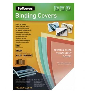 FELLOWES Boîtes de 25 couvertures transparentes PVC format A4 180 microns