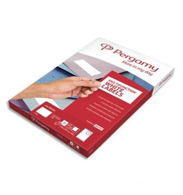 PERGAMY Boîte 100 étiquettes 210 x 297 mm multi-usages en planche A4. Coins carrés