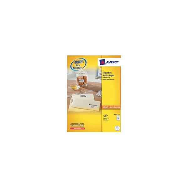AVERY Boîte de 2400 étiquettes blanches multi-usages 70 x 37 mm - pour laser, jet d'encre et copieur