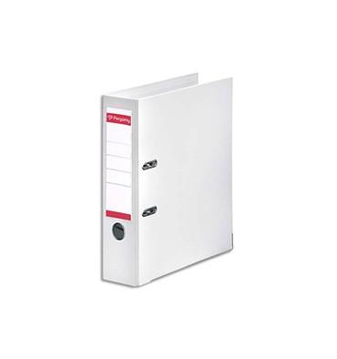 PERGAMY Classeur à levier en polypropylène intérieur/extérieur. Dos 8 cm. Format A4. Coloris blanc