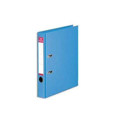 PERGAMY Classeur à levier en polypropylène intérieur/extérieur. Dos 5 cm. Format A4. Coloris bleu ciel