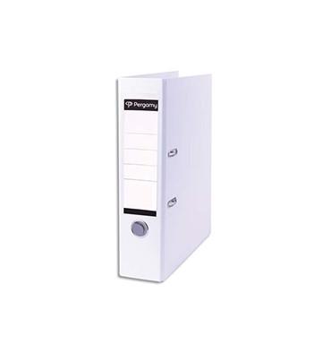 PERGAMY Classeur à levier en polypropylène extérieur/intérieur papier. Dos 8 cm. Coloris blanc