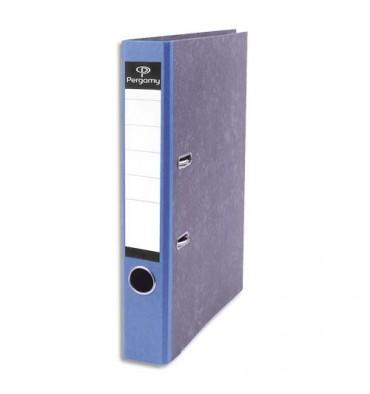 PERGAMY Classeur à levier en carton gris intérieur/extérieur marbré. Dos 8 cm. Format A4. Coloris dos bleu