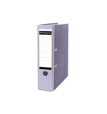 PERGAMY Classeur à levier en carton gris intérieur/extérieur marbré. Dos 8 cm. Format A4. Coloris dos gris