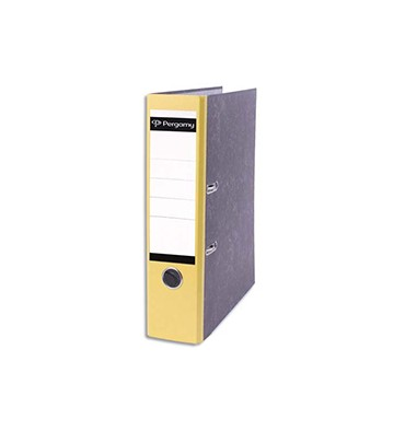 PERGAMY Classeur à levier en carton gris intérieur/extérieur marbré. Dos 8 cm. Format A4. Coloris dos jaune