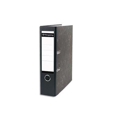PERGAMY Classeur à levier en carton gris intérieur/extérieur marbré. Dos 8 cm. Format A4. Coloris dos noir