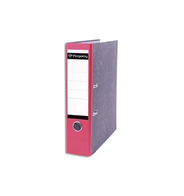 PERGAMY Classeur à levier en carton gris intérieur/extérieur marbré. Dos 8 cm. Format A4. Coloris dos rouge