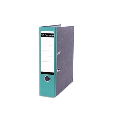PERGAMY Classeur à levier en carton gris intérieur/extérieur marbré. Dos 8 cm. Format A4. Coloris dos vert