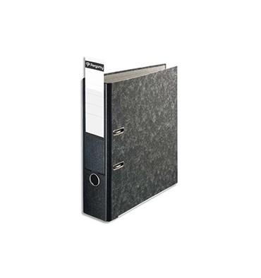 PERGAMY Classeur à levier carton gris int/ext marbré. Dos 8 cm. Format A4. Porte-étiquette soudé. Noir