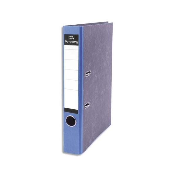 PERGAMY Classeur à levier en carton gris intérieur/extérieur marbré. Dos 5 cm. FormatA