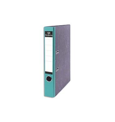 PERGAMY Classeur à levier en carton gris intérieur/extérieur marbré. Dos 5 cm. Format A4. Coloris dos vert