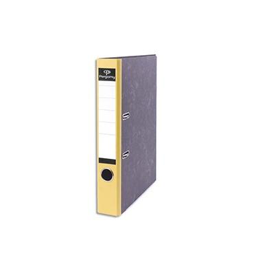 PERGAMY Classeur à levier en carton gris intérieur/extérieur marbré. Dos 5 cm. Format A4. Coloris dos jaune