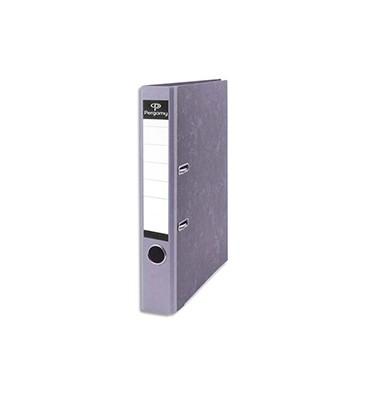 PERGAMY Classeur à levier en carton gris intérieur/extérieur marbré. Dos 5 cm. Format A4. Coloris dos gris