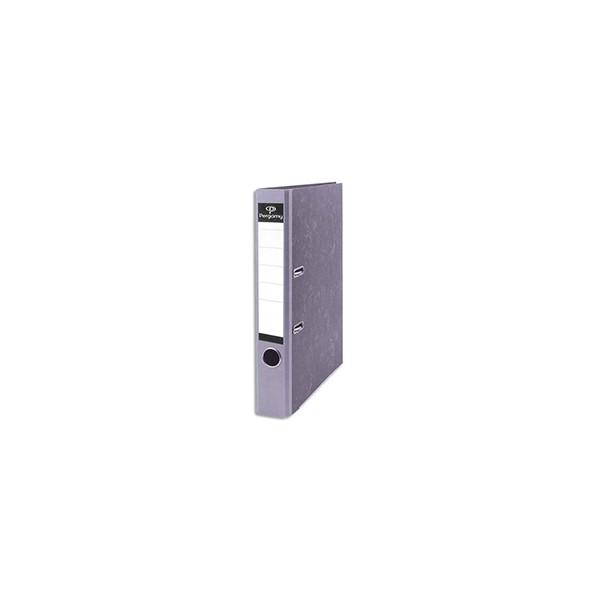PERGAMY Classeur à levier en carton gris intérieur/extérieur marbré. Dos 5 cm. Format