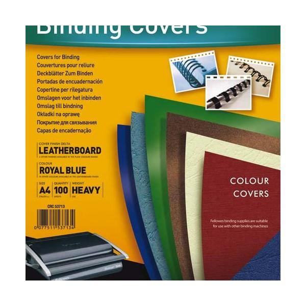 FELLOWES Boîte de 100 plats de couvertures grain cuir A4 bleu royal
