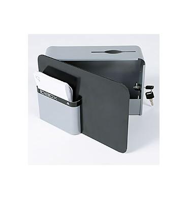 ALBA Boîte à idées IDBOX fermeture à clé, 2 fournies, compartiment fiches - 28 x 19 x 10,5 cm gris