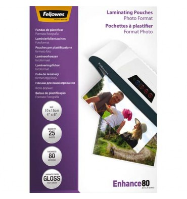 FELLOWES Boîte de 25 pochettes de plastification format photo 10 x 15 cm - 2x 80 microns
