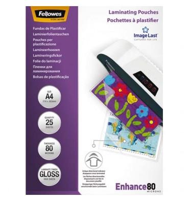 FELLOWES Boîte de 25 pochettes de plastification format A4, 2x 80 microns