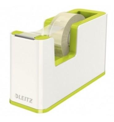 LEITZ Dévidoir Dual blanc et vert livré avec un ruban adhésif de 18 mm x 15 m