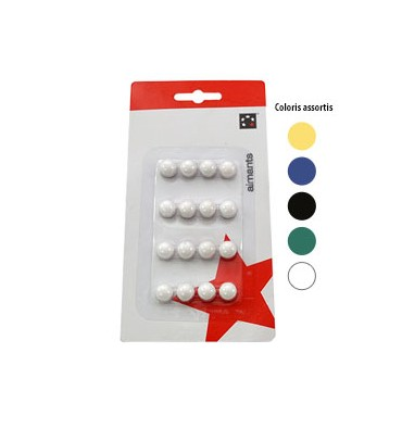 5 ETOILES Boîte de 16 aimants 9 mm ronds assortis