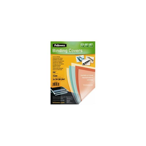 FELLOWES Boîte de 100 plats de couvertures PVC A4 180 microns