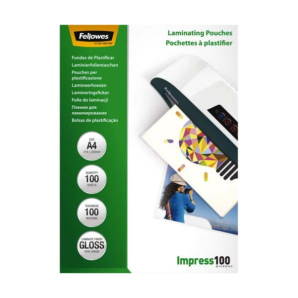 FELLOWES Pack de 100 pochettes A4, 2x 100 microns
