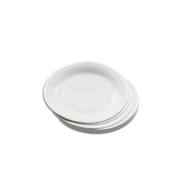 HUHTAMAKI Sachet de 50 assiettes en carton blanc diamètre 23 cm