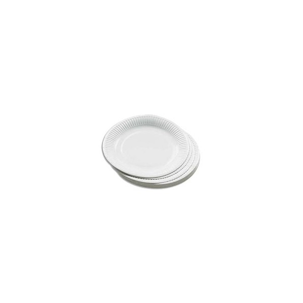 HUHTAMAKI Sachet de 50 assiettes en carton blanc diamètre 23 cm (photo)
