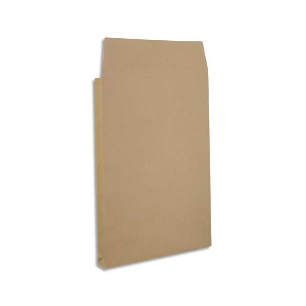 NEUTRE Paquet de 25 pochettes kraft armé brun 120 g, 3 soufflets de 5 cm, 24 format 260 x