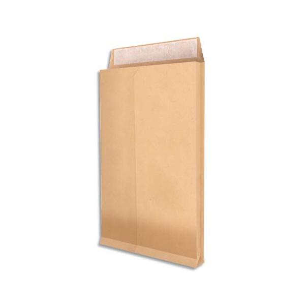 NEUTRE Paquet de 25 pochettes kraft armé brun 120 g, 3 soufflets de 5 cm, 26 format 270 x