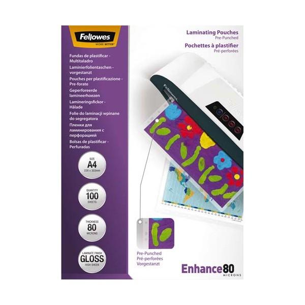 FELLOWES Pack de 100 pochettes pré-perforées brillantes A4 80 microns