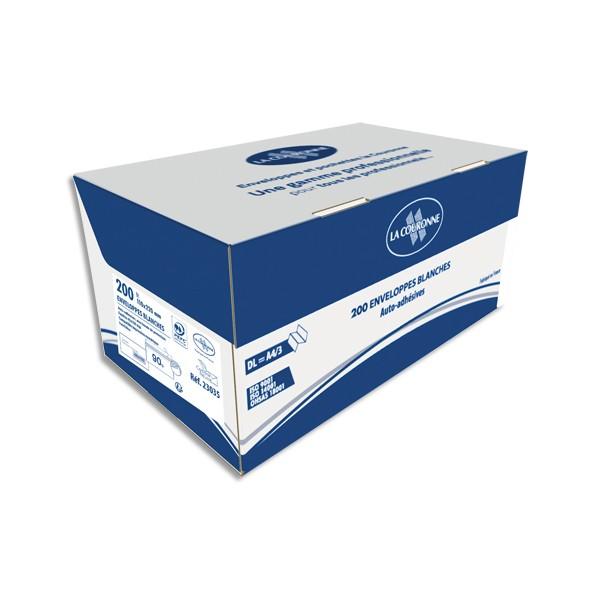 LA COURONNE Boîte de 200 enveloppes blanches auto-adhésives 90g format 110x220mm DL
