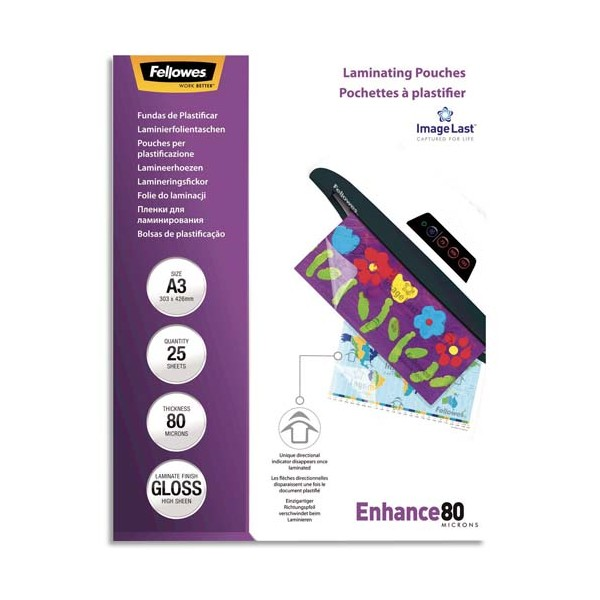 FELLOWES Paquet de 25 pochettes de plastification A3, 2x 80 microns