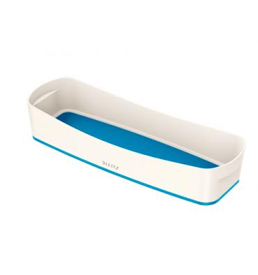 LEITZ Bac de rangement MYBOX long sans couvercle en ABS. Coloris blanc fond bleu