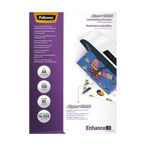 FELLOWES Pack de 100 pochettes SuperQuick A4 80 microns