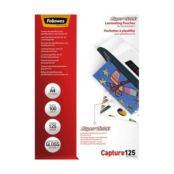 FELLOWES Pack de 100 pochettes SuperQuick A4 2x 125 microns
