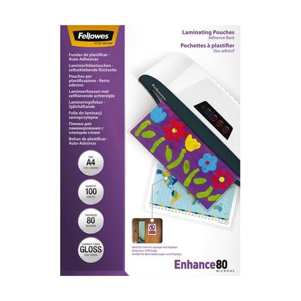 FELLOWES Pack de 100 pochettes A4 dos adhésif 2x 80 microns